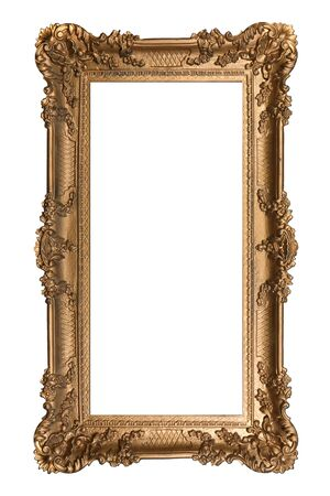 elaborate: Elaborate Vertical Golden Picture Frame Isolated on White Easily Extracted