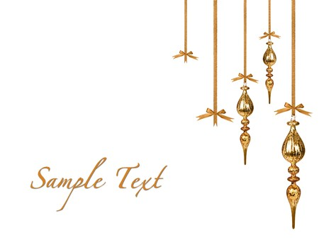gold christmas ornaments hanging beautifully on white background with copyspace stock photo 3946291 - Gold Christmas Ornaments