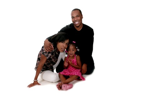 African American Family of Mother, Father and Little Girl on White Background photo