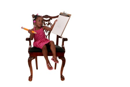 African American Girl Writing on Paper