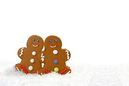 eachother: Happy Gingerbread Couple Looking at Eachother in Love with Copy Space