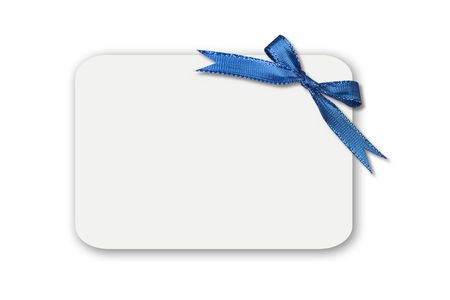 name tags: Blue Bow on a White Blank Gift Card or Tag. Insert Your Own Message or Graphic