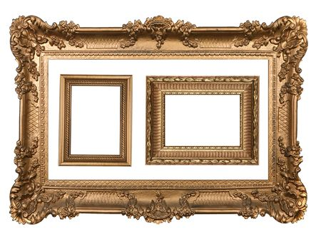 3 Decorative Gold Empty Wall Picture Frames Insert Your Own Design photo