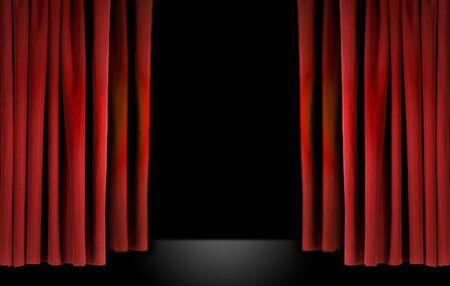 terciopelo rojo: Antiguo teatro elegante escenario con cortinas de terciopelo rojo