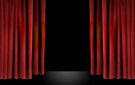Old fashioned elegant theater stage with red velvet curtains Stock Photo