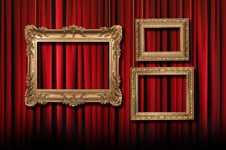 vintage furniture: Red Stage Theater Curtains With 3 Hanging Gold Frames