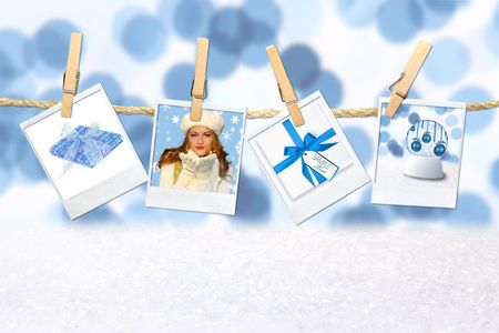 blanks: Blue Winter Christmas Holiday Related Pictures on Hanging Film Blanks