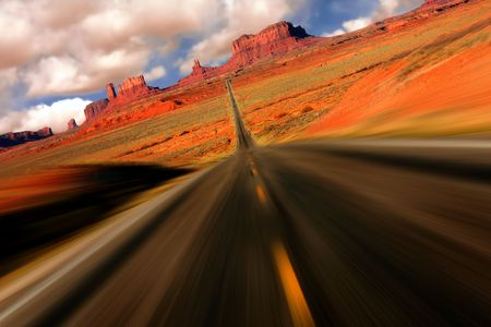 intentional: Dramatic Abstract View from Mile 13 on the Road to Monument Valley Arizona With Intentional Speed Blur Stock Photo