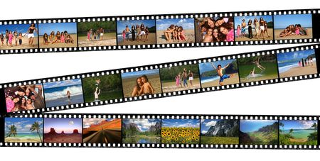 negatives: Old 35mm film negatives of a Beautiful Familys Vacation Travels Stock Photo
