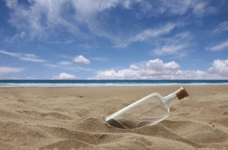 castaway: Message in a Bottle Washed Ashore a Beach With Cork. Message is Missing.