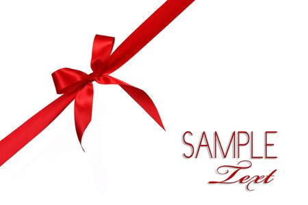 placement: Red Gift Ribbon Bow in Horizontal Placement Over White Background Easily Isolated for Your Project