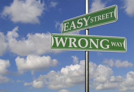 Street Signs With Easy Street and Wrong Way Motivational Concept photo