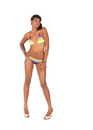 black metallic background: African American Woman in a Bikini on White Background