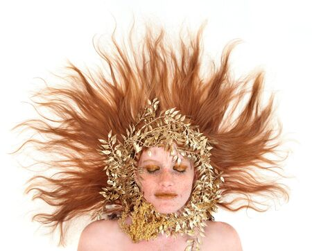 red head woman: Stunning Red Head Woman With Bronze Extreme Makeup on White Background