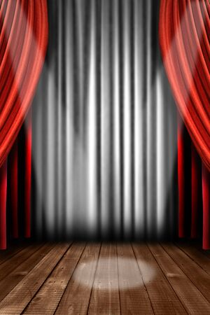 Vertical Stage Drapes With Dramatic Spotlight in the Center