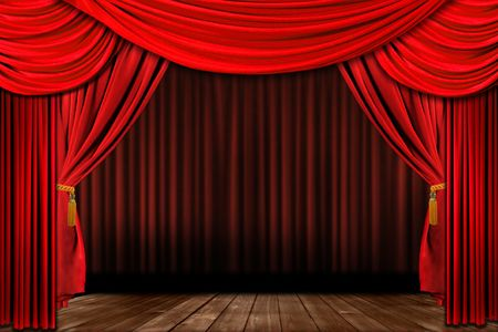 Dramatic red old fashioned elegant theater stage with velvet curtain drapes