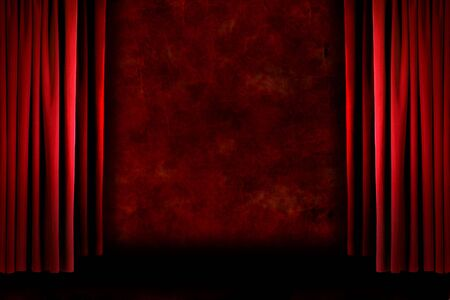 Red old fashioned grungy elegant theater stage curtain drapes Stock Photo