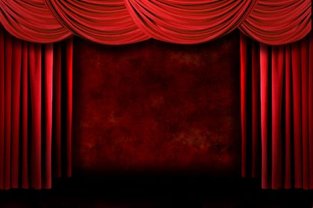 Grunge Red Stage Theater Drapes With Dramatic Lighting Stock Photo - 4328800