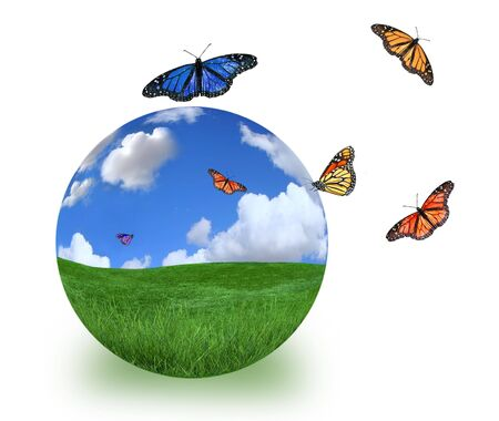 butterfly isolated: Green Planet Symbolized With Beautiful Landscape and Butterflies