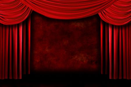 archiitecture: Grunge Stage Theater Drape Curtains Against a Dark Background Stock Photo
