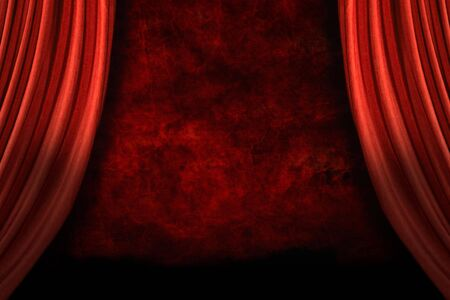 archiitecture: Stage Drapes With Grunge Background and Dramatic Lighting