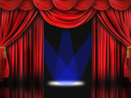 archiitecture: Dramatic Red Theater Stage With Blue Spot Lights