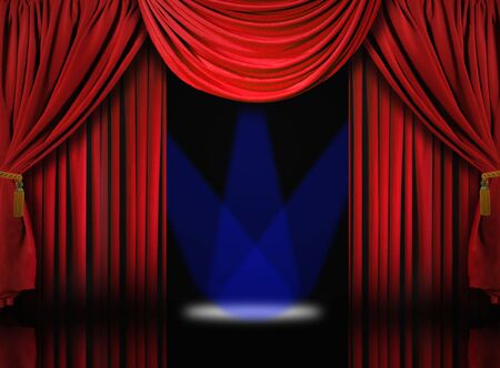 Beautiful Red Velvet Theater Stage Drape Curtains With Blue Spotlights Stock Photo