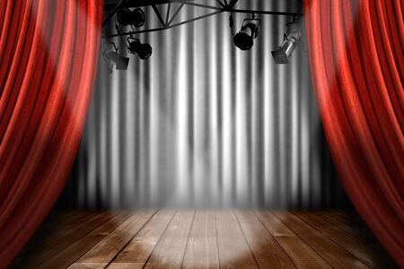 スポット ライトのパフォーマンス性のライトを示す赤い劇場ステージ