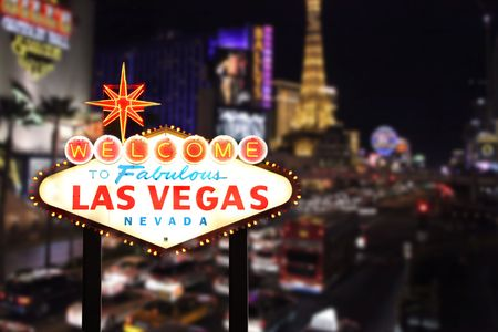 lembo: Benvenuti a Las Vegas Nevada Striscia Con sullo sfondo Archivio Fotografico