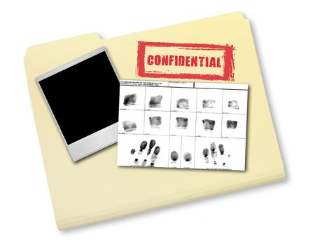 folders: Elements of an Investigation Including FIngerprints Photo and Confidential File Stock Photo