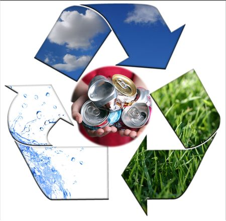 Abstract Recycling Symbol Representing Air, Land and Sea With Aluminim Cans photo
