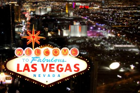 Las Vegas Welcome Sign With the Strip in the Background Stock Photo