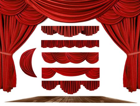 curtain theatre: Red dramatic old fashioned elegant theater stage elements of swags to make your own background