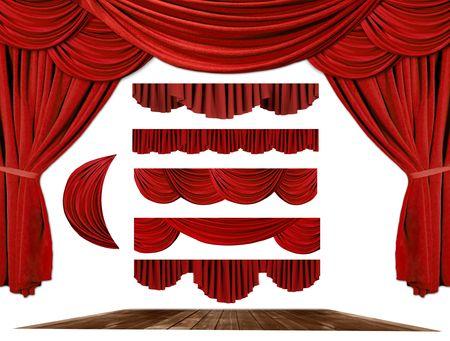 theatre: Red dramatischen altmodische elegante Theater Elemente swags, um Ihren eigenen Hintergrund