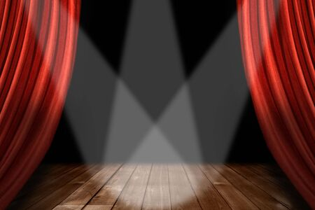 centered: Theater Stage Background With 3 Spotlights Centered on Wooden Floor
