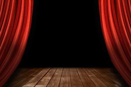 木製の床と黒の背景と急降下劇場ステージのカーテン 写真素材
