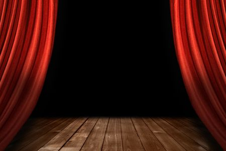 theater seat: Swooping Theater Stage Drapes With Wooden Floor and Black Background