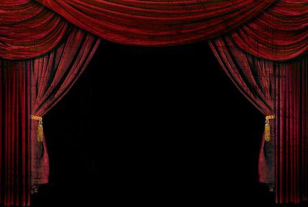 Antigua, teatro elegante escenario con cortinas de terciopelo.