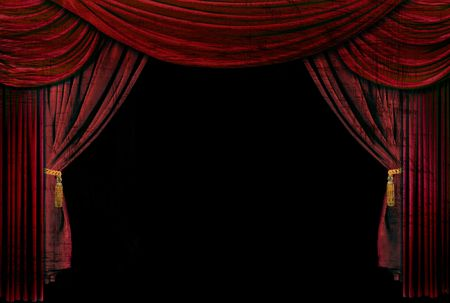 theater seat: Old fashioned, elegant theater stage with velvet curtains.