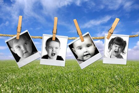 Photos of a Toddlers Many Expressions Against a Grunge Mottled Background photo