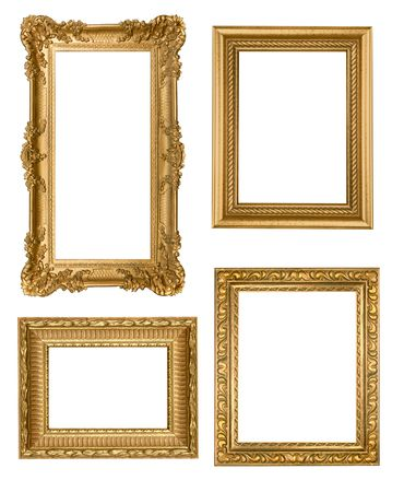 vintage furniture: Decorative Gold Empty Wall Picture Frames Insert Your Own Design Stock Photo