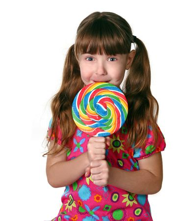 Funny Portrait of a Little Girl Licking a Lollipop Stock Photo - 4605721