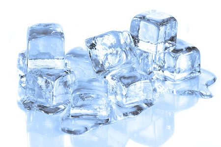 Ice Cubes Melting on a Reflective Surface White Background