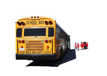 school aged: School Aged Children Departing a School Bus on a Field Trip Isolated on White