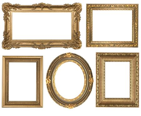 picture frame on wall: Decorative Gold Empty Oval and Square Wall Picture Frames Insert Your Own Design