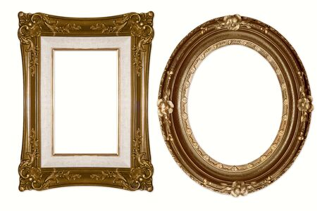 Oval and Rectangular Decorative Golden Frames Isolated on White Background Stock Photo