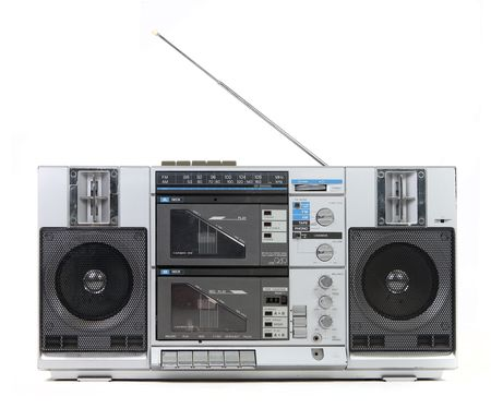 Front View of a Vintage Boom Box Cassette Tape Player Isolated on White Background Stock Photo - 4795248