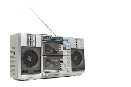 tape player: Vintage Boom Box Cassette Tape Player Isolated on White Background Stock Photo