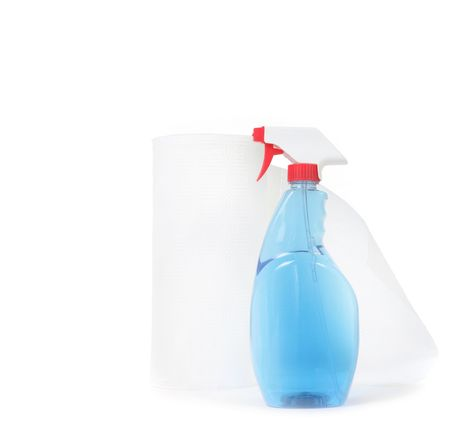 Window Cleaner and Paper Towels on White Background With Copy Space