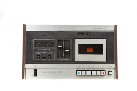 Cassette Vintage Tape Recording Device Isolated on White Background photo
